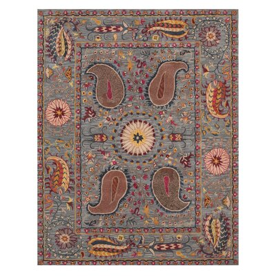 Colleen Hand Tufted Blue Area Rug Rug Size: 89 x 119