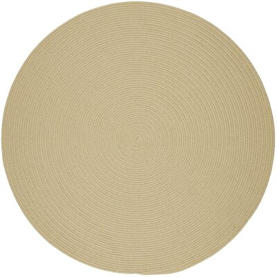 Handmade Cream Indoor/Outdoor Area Rug Rug Size: Round 6'
