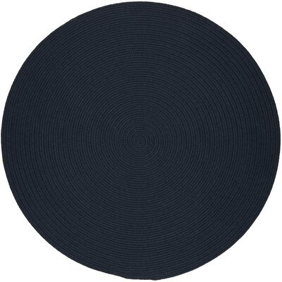 Handmade Navy Indoor/Outdoor Area Rug Rug Size: Round 10