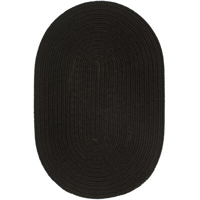 Handmade Black Indoor/Outdoor Area Rug Rug Size: Oval 8 x 11