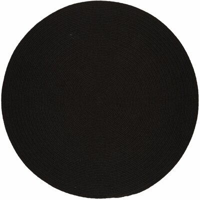Handmade Black Indoor/Outdoor Area Rug Rug Size: Round 8