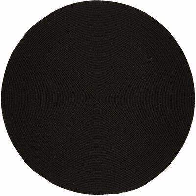 Handmade Black Indoor/Outdoor Area Rug Rug Size: Round 6