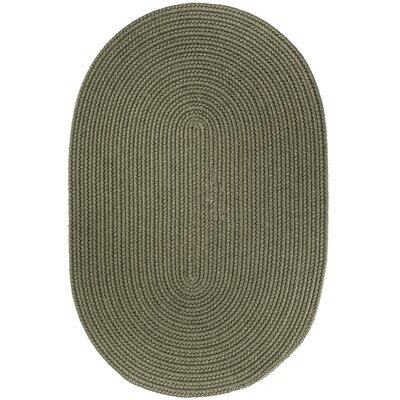 Handmade Moss Green Area Rug Rug Size: Oval 4 x 6