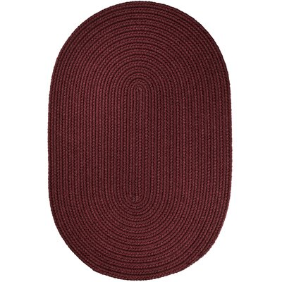 Handmade Burgundy Indoor/Outdoor Area Rug Rug Size: Oval 3 x 5
