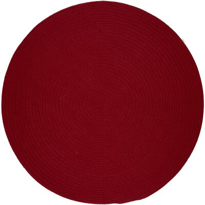 Handmade Brilliant Red Indoor/Outdoor Area Rug Rug Size: Round 4