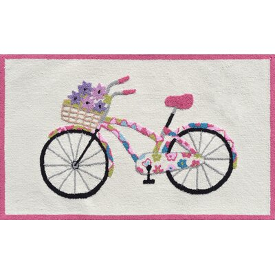 Pink/Cream Flower Bike Area Rug