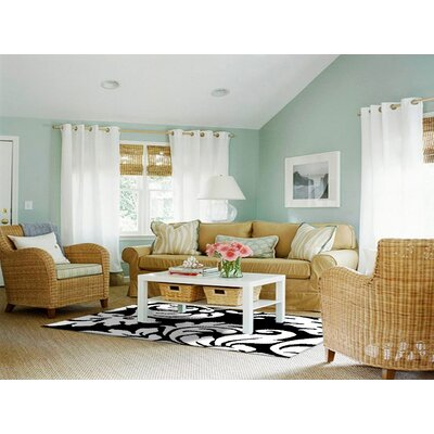 Hand-Tufted Black/White Area Rug Rug Size: Square 6