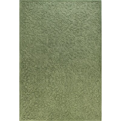 Hand-Tufted Green Area Rug Rug Size: 86 x 116