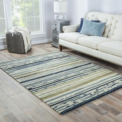 Hand-Hooked Gray Indoor/Outdoor Area Rug Rug Size: 36 x 56