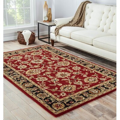 Hand-Tufted Red Area Rug Rug Size: Rectangle 4 x 8