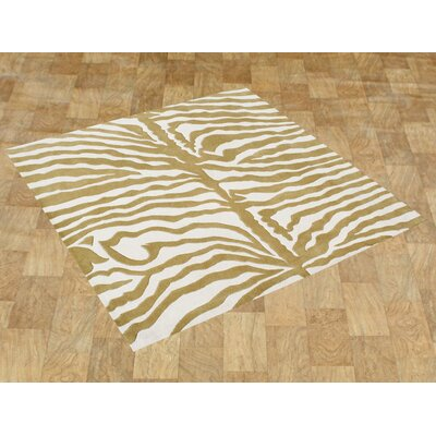 Hand-Tufted Green/Ivory Area Rug Rug Size: Square 6