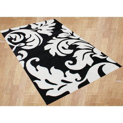 Hand-Tufted Black/White Area Rug Rug Size: Rectangle 5 x 8