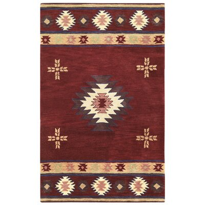 Hand-Tufted Red Area Rug Rug Size: Rectangle 5 x 8