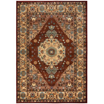 Red Area Rug Rug Size: Rectangle 53 x 77