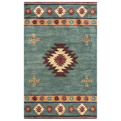 Hand-Tufted Green Area Rug Rug Size: Rectangle 3 x 5