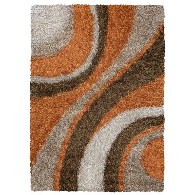 Hand-Tufted Brown Area Rug Rug Size: Rectangle 6 x 9