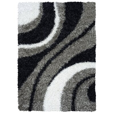 Hand-Tufted Gray Area Rug Rug Size: 5 x 7
