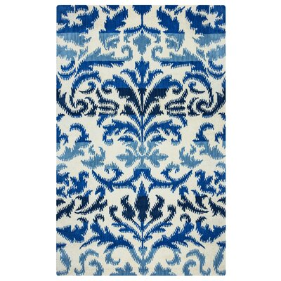 Hand-Tufted Blue/White Area Rug Rug Size: Round 8