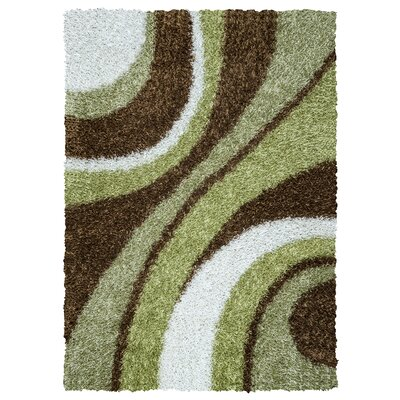 Hand-Tufted Green Area Rug Rug Size: Rectangle 36 x 56
