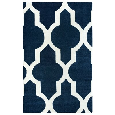 Hand-Tufted Navy Area Rug Rug Size: Rectangle 8 x 10