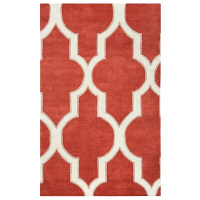 Hand-Tufted Rust Area Rug Rug Size: Rectangle 2 x 3