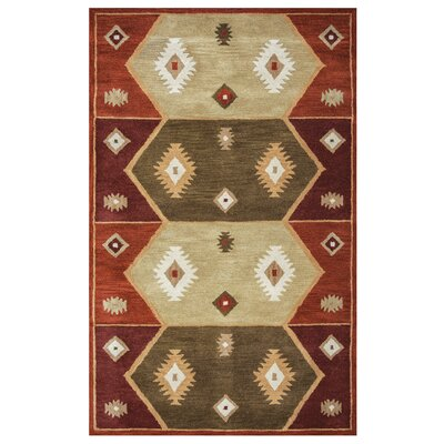 Hand-Tufted Gray/Red Area Rug Rug Size: 5 x 8