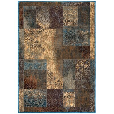Blue/Tan Area Rug Rug Size: Rectangle 53 x 77