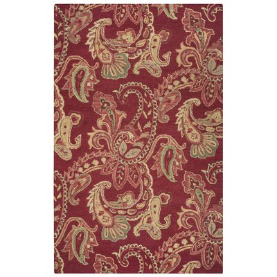 Hand-Tufted Red Area Rug Rug Size: Rectangle 3 x 5