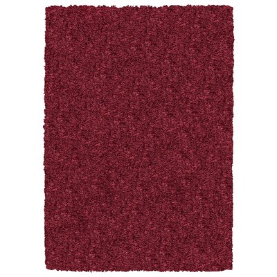 Hand-Tufted Burgundy Area Rug Rug Size: 5 x 7