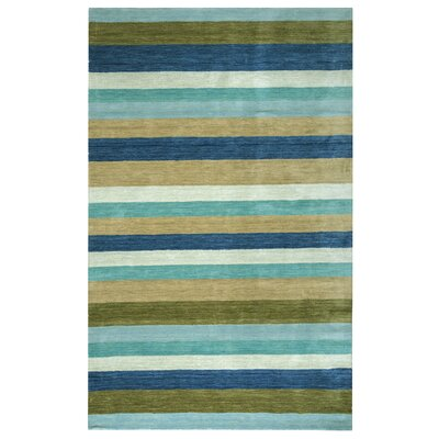 Hand-Woven Brown/Blue Area Rug Rug Size: 2 x 3