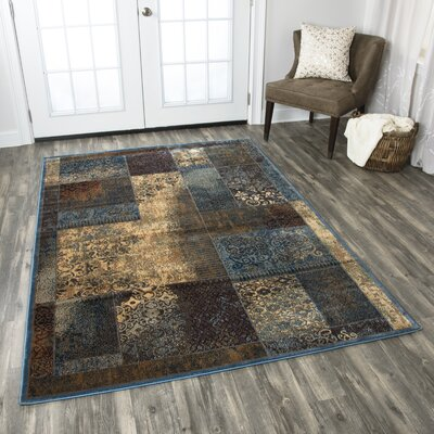 Blue/Tan Area Rug Rug Size: Rectangle 53 x 33