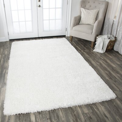 Hand-Tufted White Area Rug Rug Size: Rectangle 8 x 10