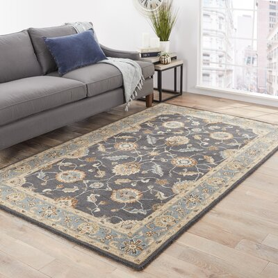 Hand-Tufted Wool Navy Blue Area Rug Rug Size: Rectangle 26 x 4