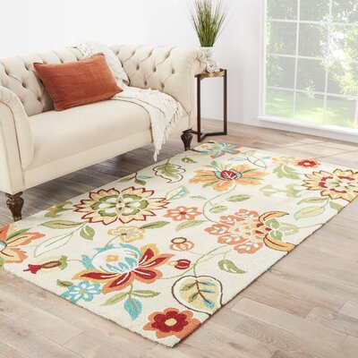 Hand-Tufted Red/Beige Area Rug Rug Size: 2 x 3