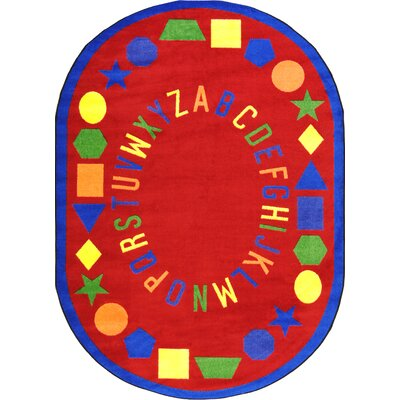 Red Area Rug Rug Size: Oval 109 x 132