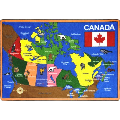 Map of Canada Area Rug Rug Size: 54 x 78