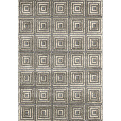 Lara Squares Blue Contemporary Rectangular Rug Rug Size: Rectangle 67 x 93