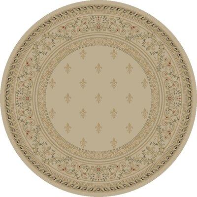 Ivory Fleur De Lys Area Rug Rug Size: Round 710