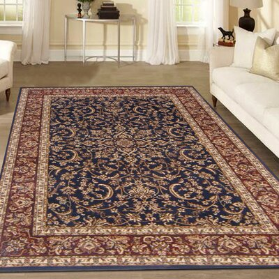 Jennings Navy/Red Area Rug Rug Size: Runner 22 x 8