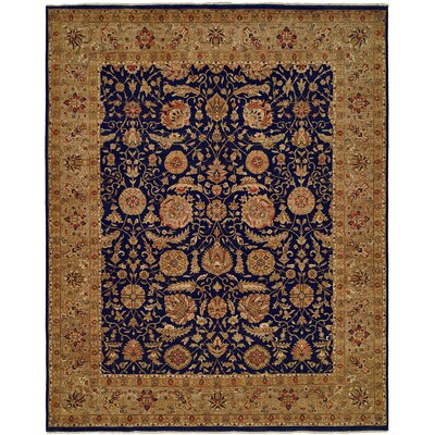 Diphu Hand-Knotted Navy/Camel Area Rug Rug Size: 4 x 6
