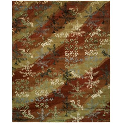 Dhuri Hand-Tufted Scarlet/Sand Area Rug Rug Size: 6 x 9