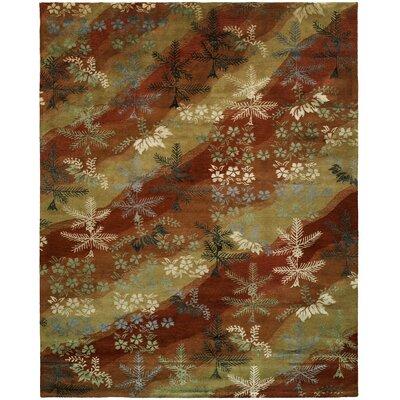 Dhuri Hand-Tufted Scarlet/Sand Area Rug Rug Size: 96 x 136