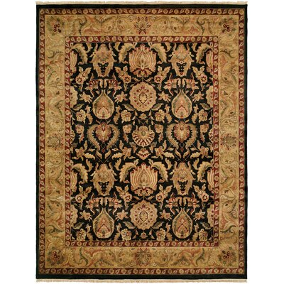 Gumia Hand-Knotted Black/Gold Area Rug Rug Size: Square 8