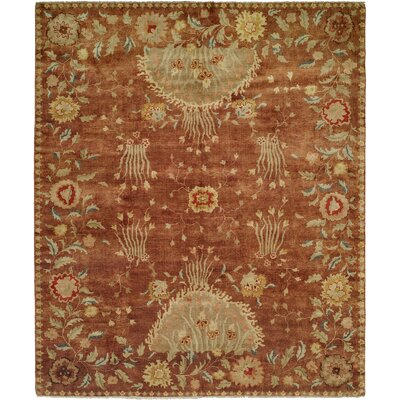 Dumka Hand-Knotted Rosewood/Yellow Area Rug Rug Size: 10 x 14