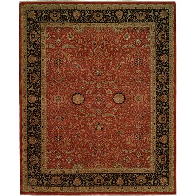 Diphu Hand-Knotted Rust/Black Area Rug Rug Size: Rectangle 2 x 3