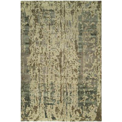 Dhuri Hand-Tufted Green/Brown Shadow Area Rug Rug Size: 96 x 136