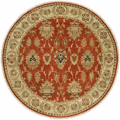Fatehabad Hand-Knotted Rust/Ivory Area Rug Rug Size: Round 6