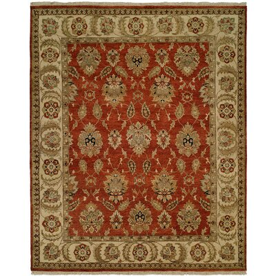 Fatehabad Hand-Knotted Rust/Ivory Area Rug Rug Size: 6 x 9