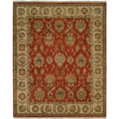 Fatehabad Hand-Knotted Rust/Ivory Area Rug Rug Size: 10 x 14