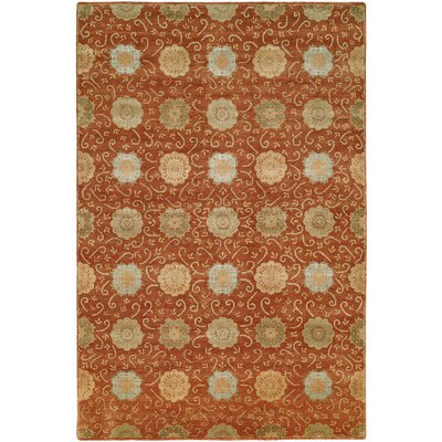 Faridkot Hand-Knotted Rust Area Rug Rug Size: 6 x 9